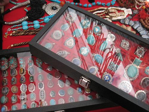 Turquoise jewellery display.